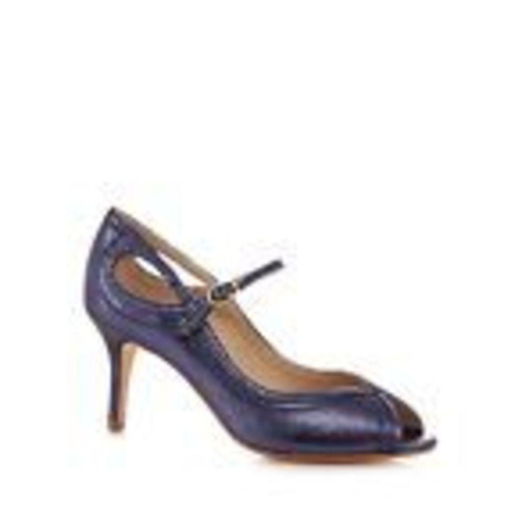 Debut Blue Glitter High Stiletto Heel Peep Toe Shoes From Debenhams