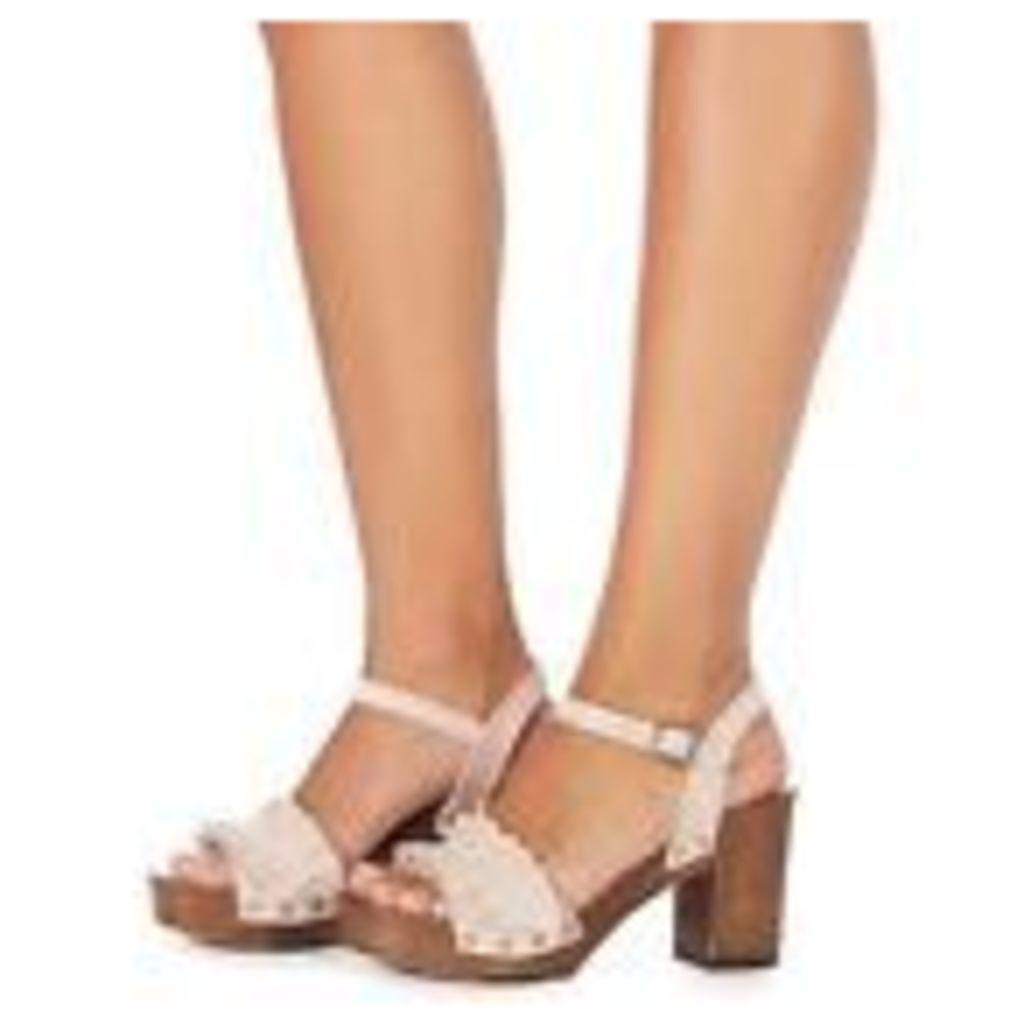 Faith Pink Suede 'Dani' High Block Heel Ankle Strap Sandals From Debenhams