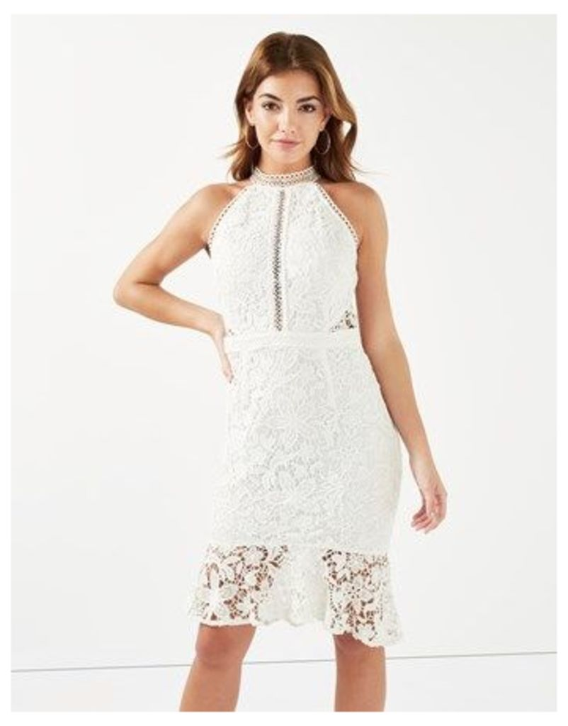 Lipsy Floral Lace High Neck Bodycon Dress