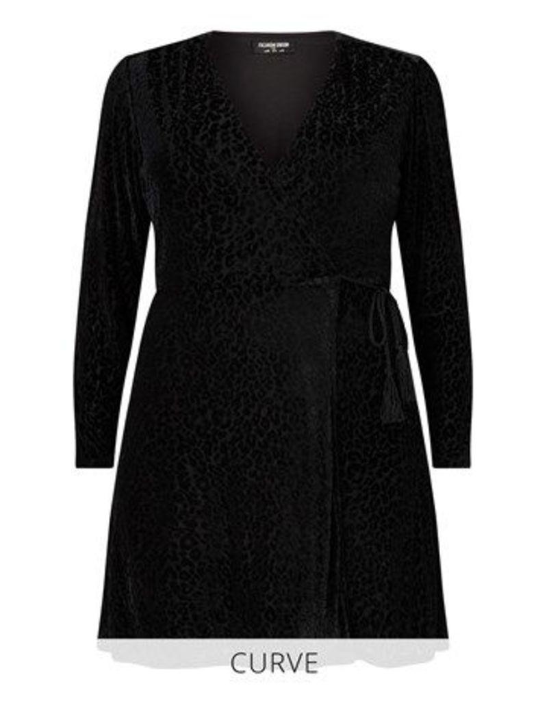 Fashion Union Curve Velvet Leopard Burnout Wrap Dress