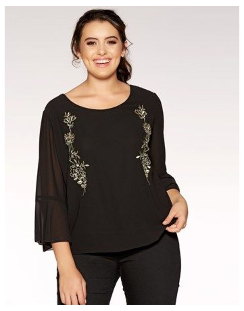 Quiz Curve Flared Sleeve Embroidered Top