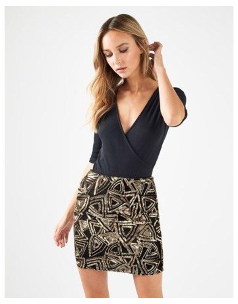 Boohoo Sequin Baroque Mini Skirt