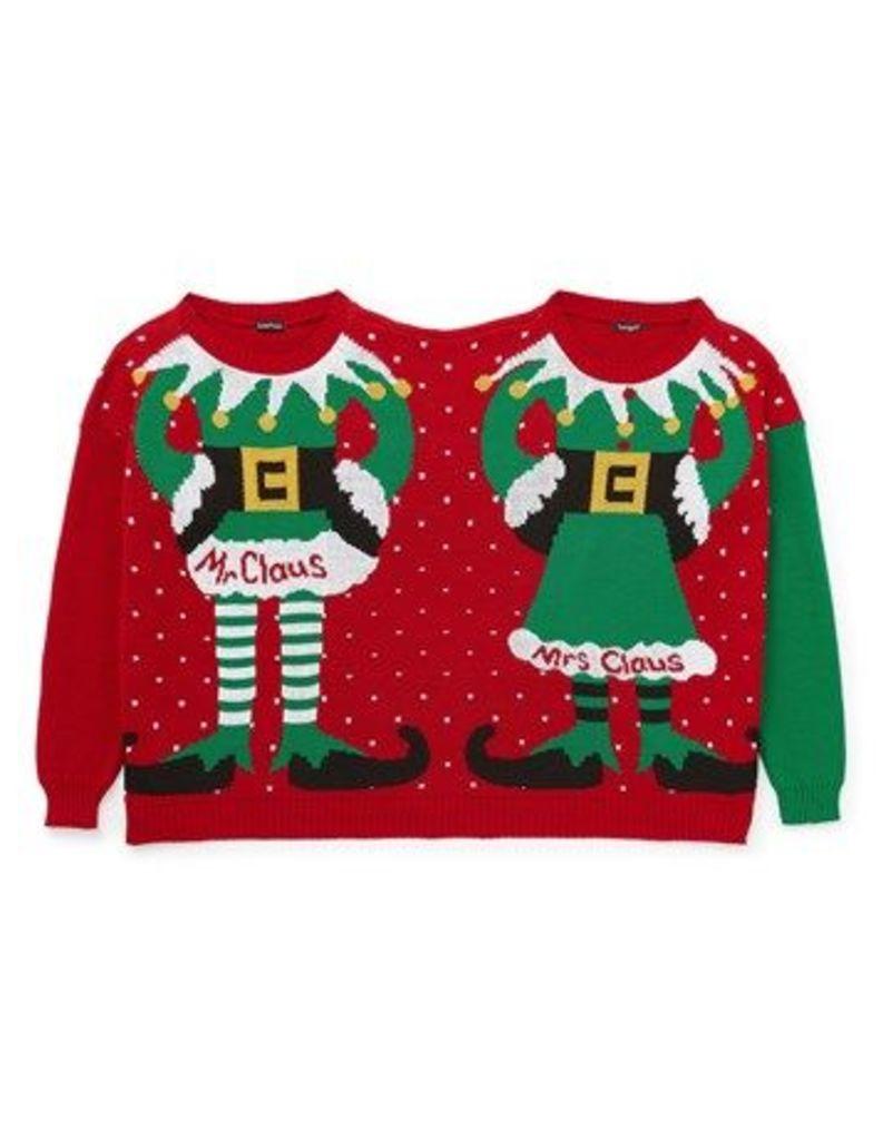 Boohoo Mr & Mrs Claus Christmas Jumper