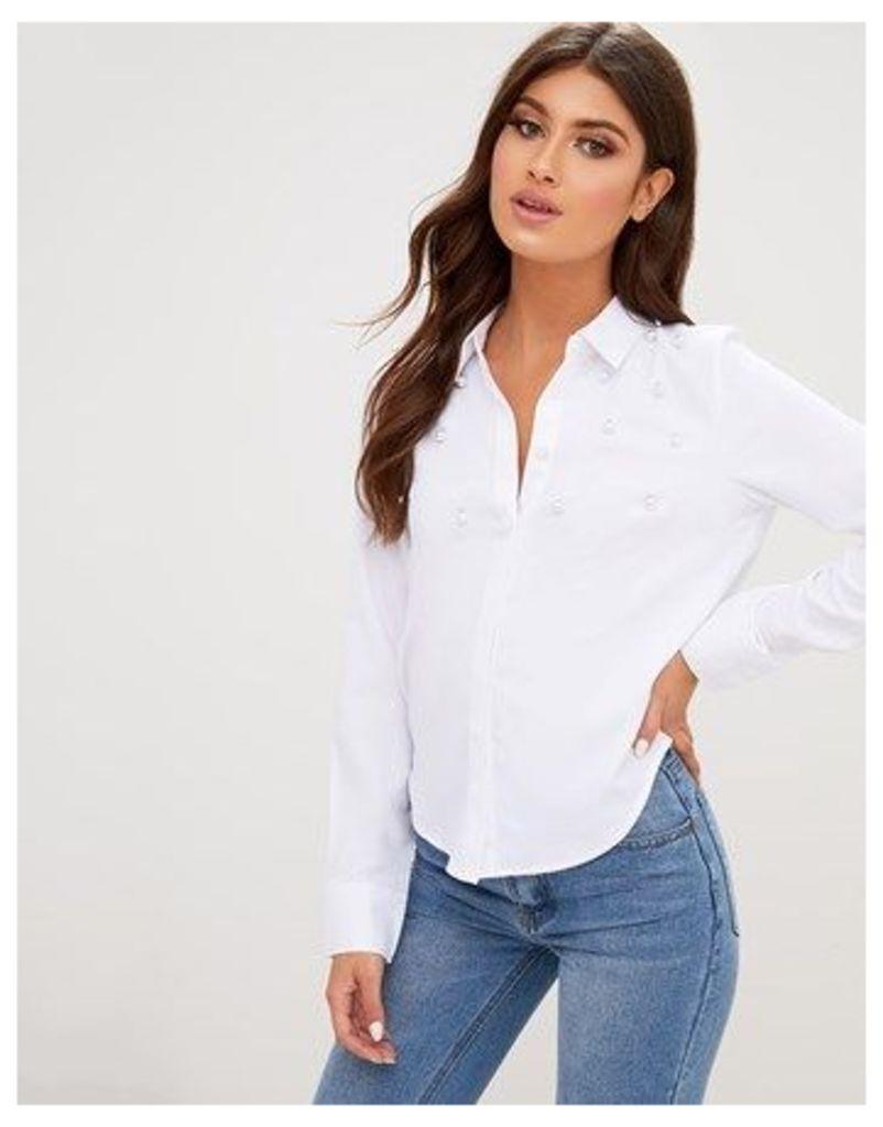 Prettylittelthing Pearl Detail Shirt