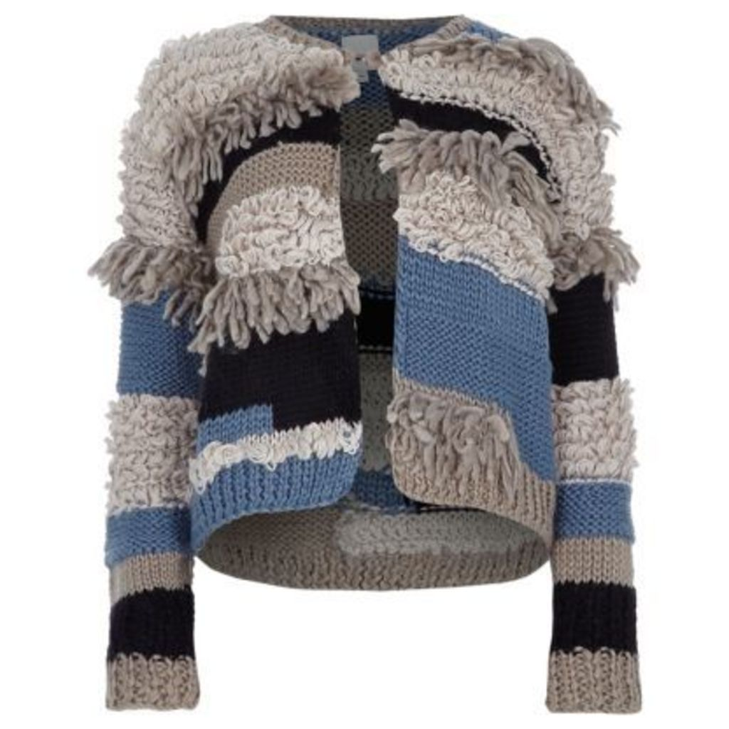 River Island Womens Cream and blue mixed knit fringe cardigan