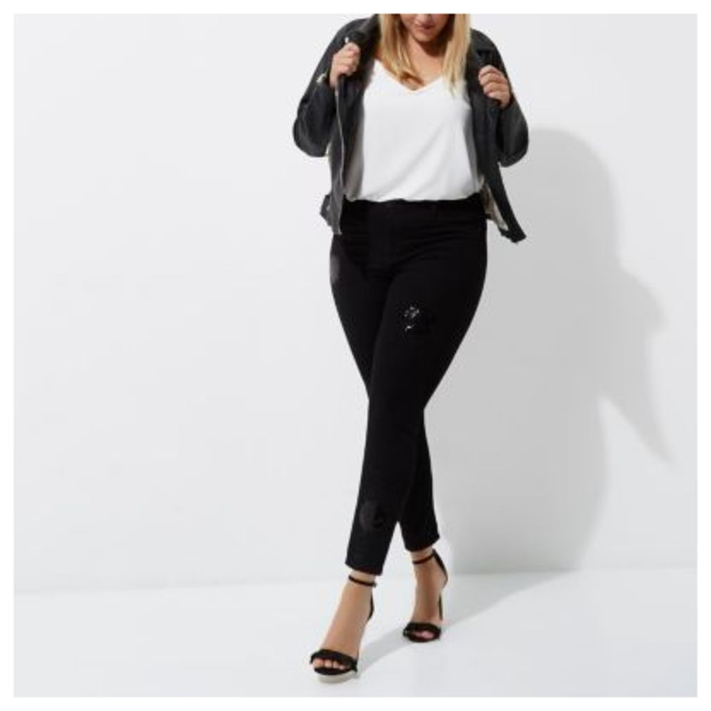 River Island Womens Plus Black sequin embellished Molly jeggings