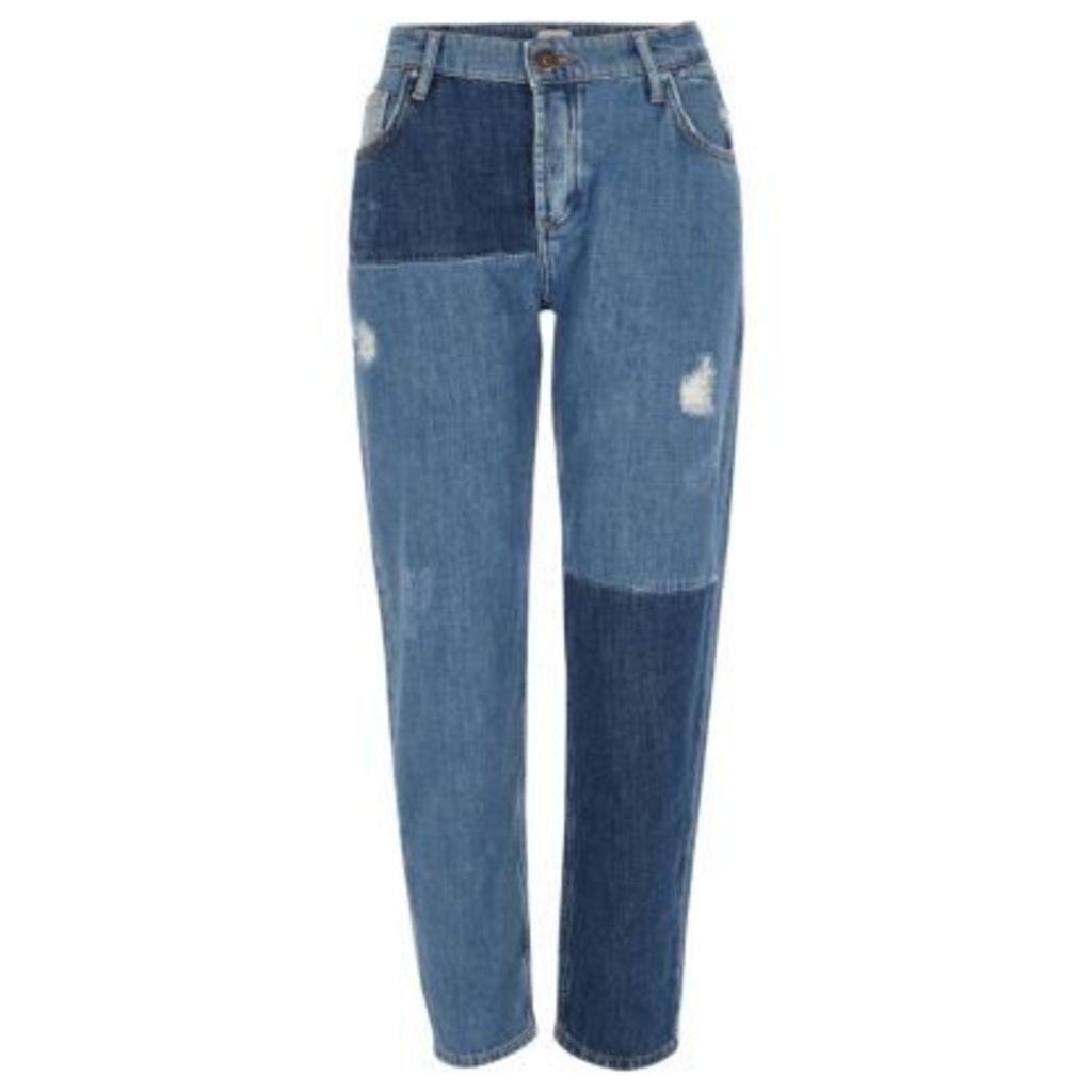 River Island Womens Mid Blue reworked patchwork boyfriend jeans