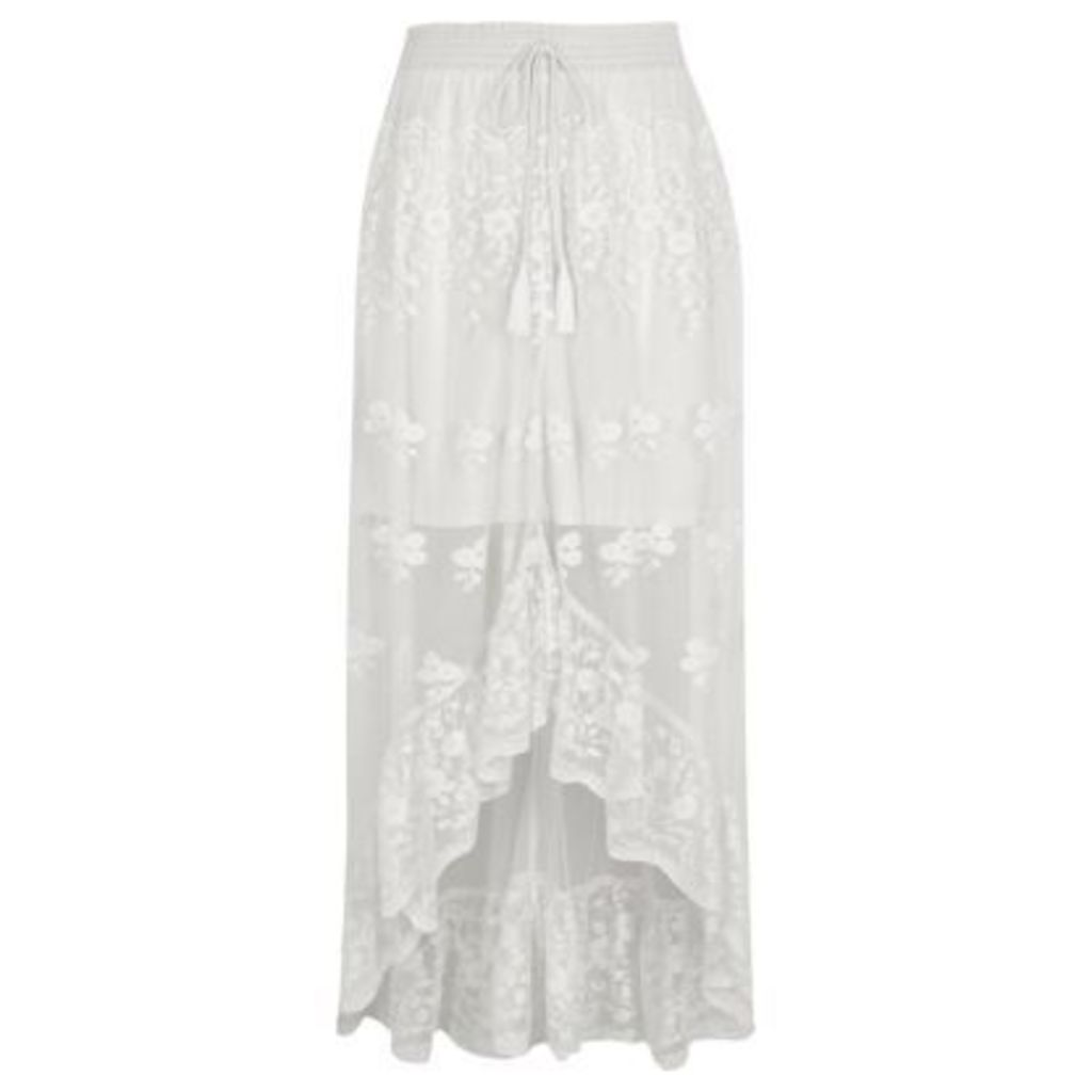 River Island Womens White mesh asymmetric high-low hem maxi skirt