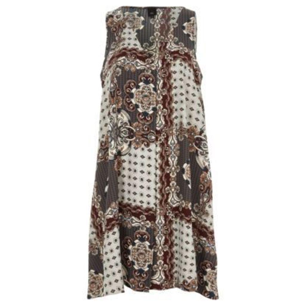 River Island Womens Cream scarf print sleeveless swing dress