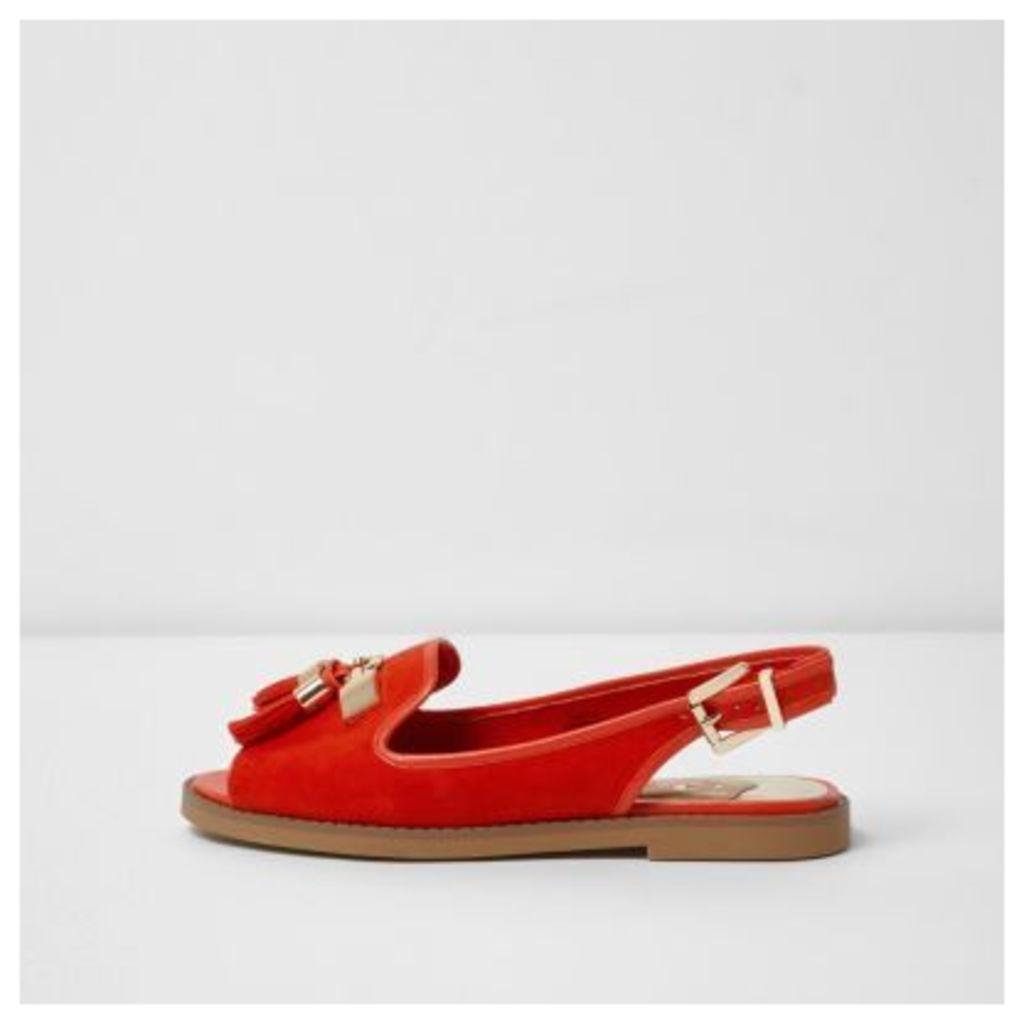 River Island Womens Red peep toe slingback loafers