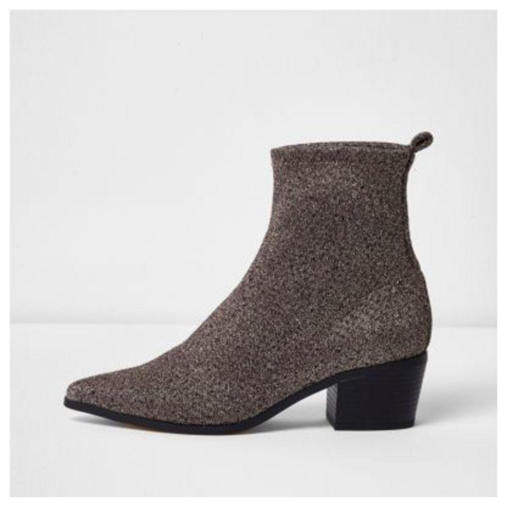 River Island Womens Gold lurex glitter boots