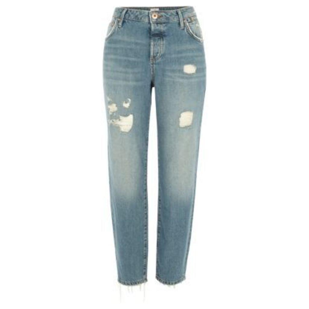 River Island Womens Light Blue ripped Ashley boyfriend jeans