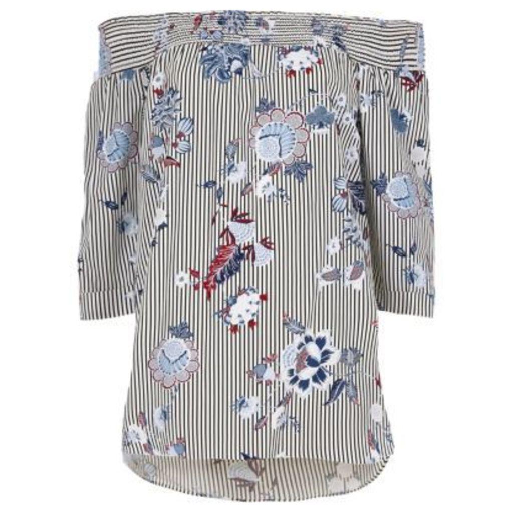 River Island Womens Black stripe floral print shirred bardot top