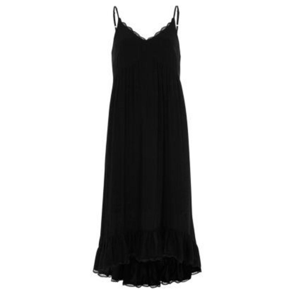 River Island Womens Black frill hem maxi slip dress
