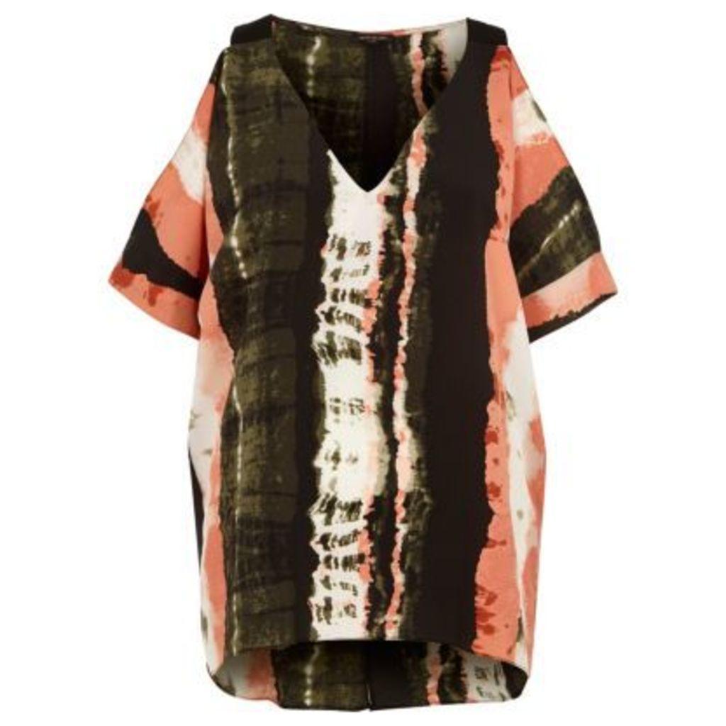 River Island Womens Khaki green tie dye cold shoulder top