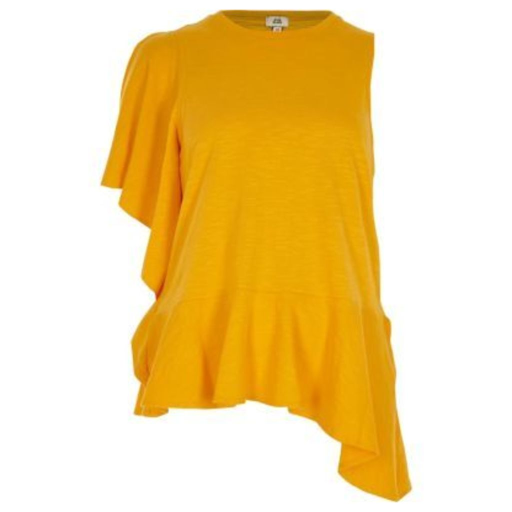 River Island Womens Yellow asymmetric frill tank top