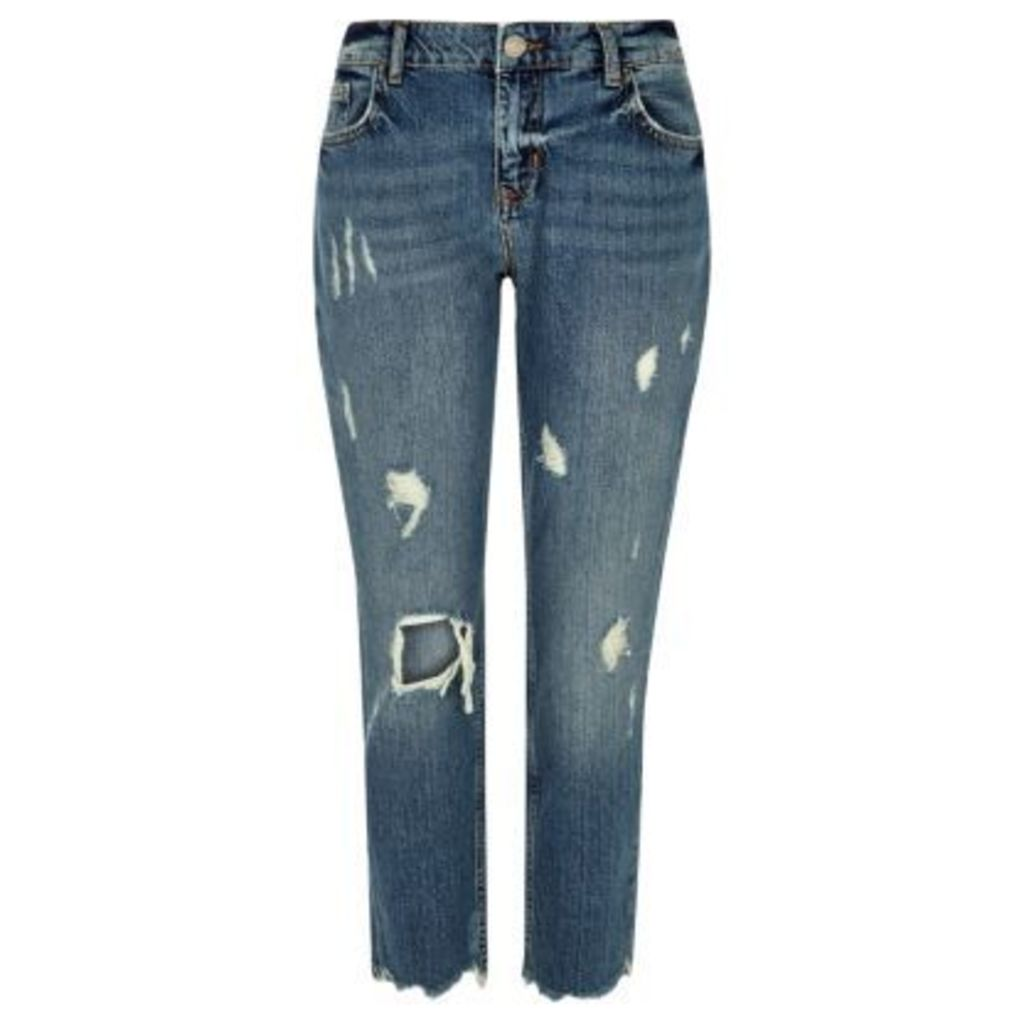 River Island Womens Authentic Blue wash ripped slim fit jeans