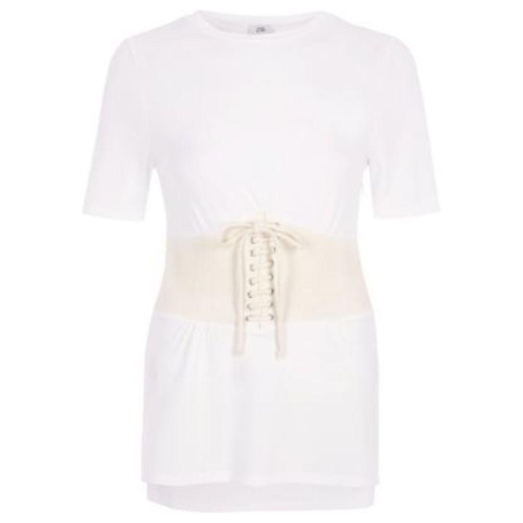 River Island Womens Cream corset T-shirt