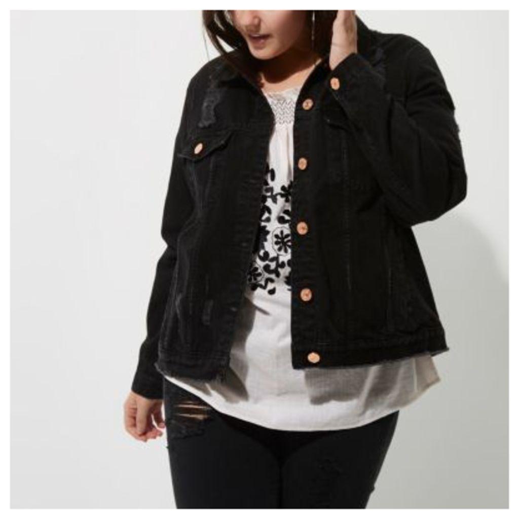 River Island Womens Plus Black washed distressed denim jacket