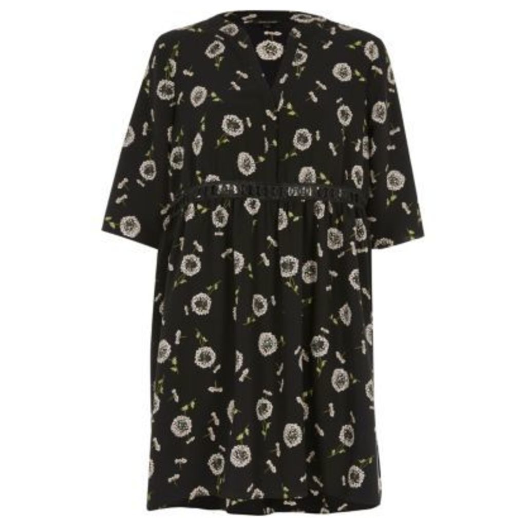River Island Womens Black floral print smock dress