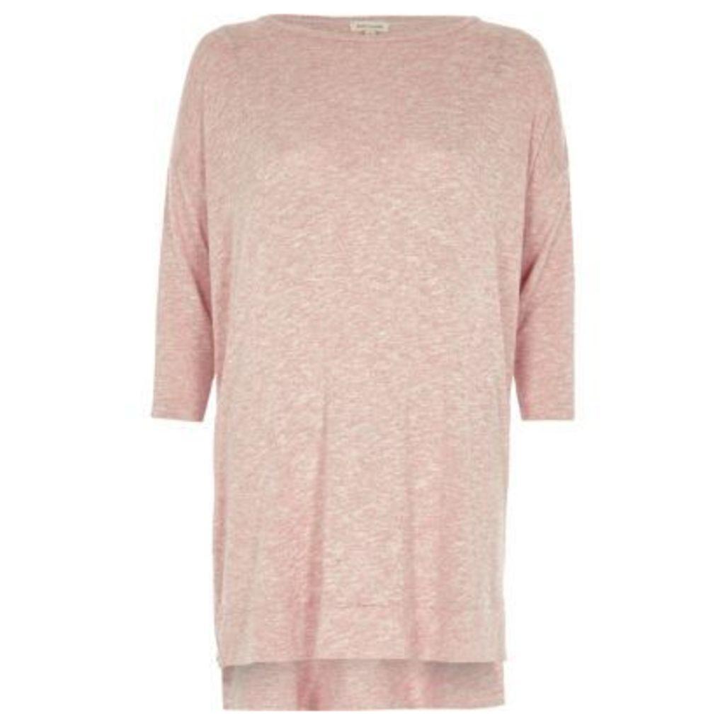 River Island Womens Pink knit side zip longline top