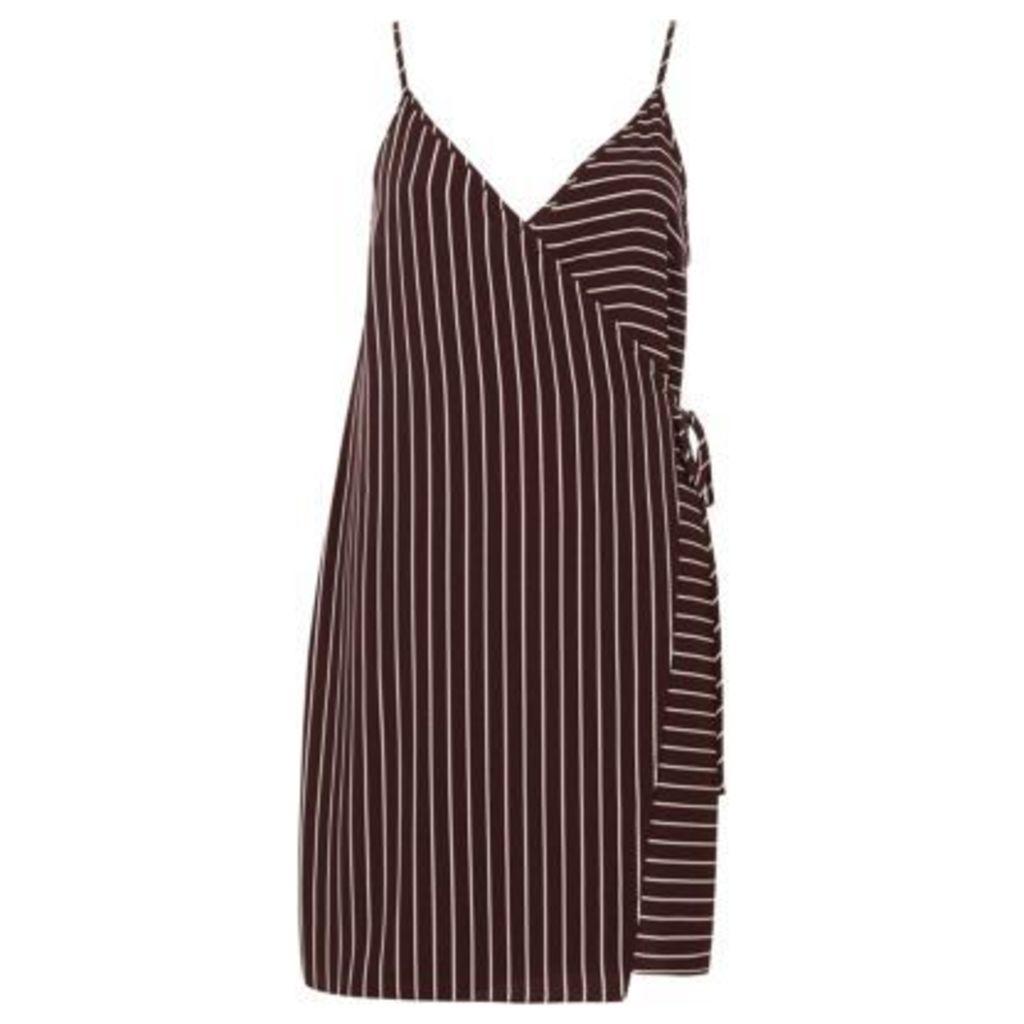 River Island Womens Red stripe wrap front cami slip dress