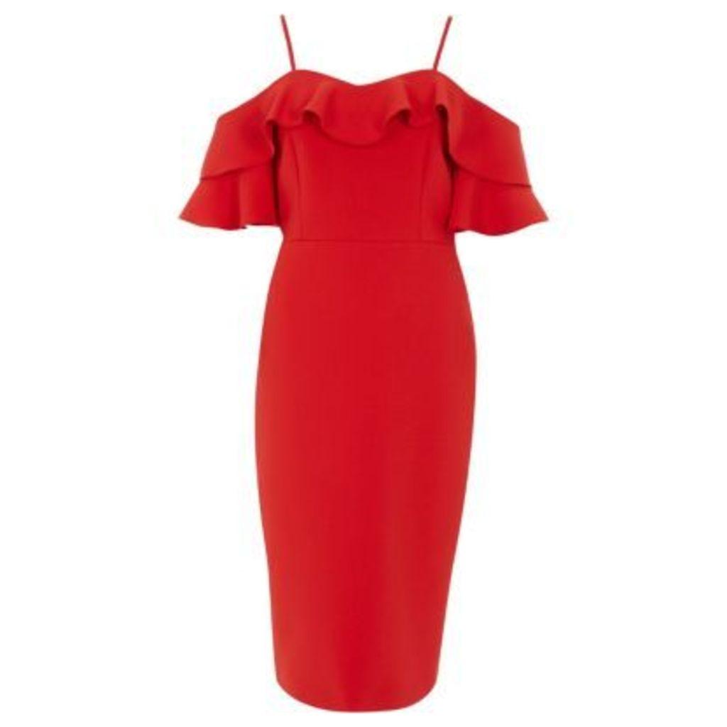 River Island Womens Red bardot frill bodycon midi dress