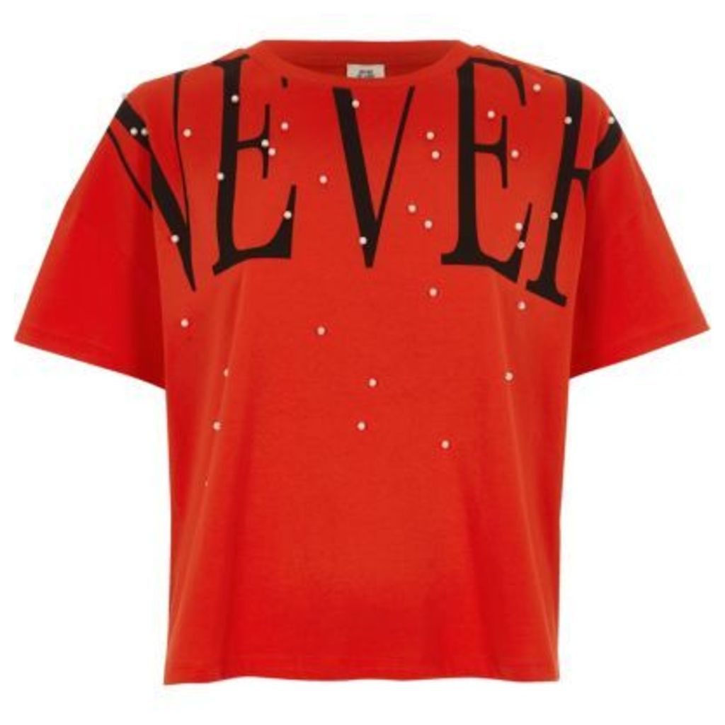 River Island Womens Red 'never' faux pearl embellished T-shirt