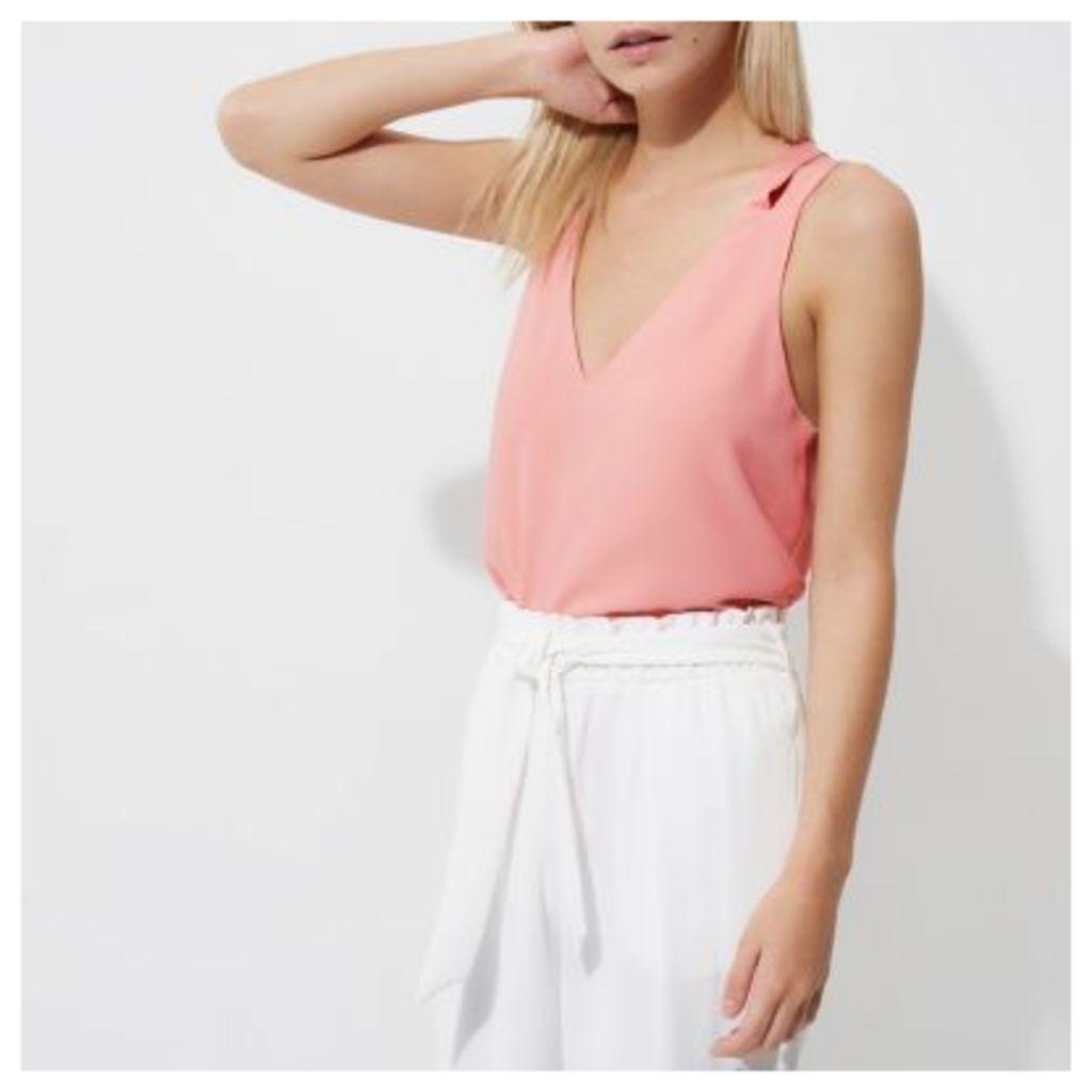 River Island Womens Petite Pink double strap cross back vest