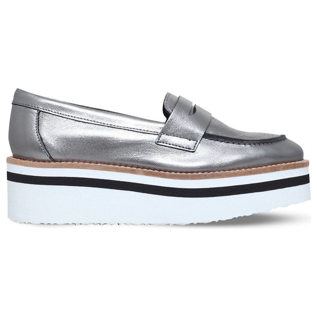 Carvela Laugh leather flatform loafers, Women's, Size: EUR 38 / 5 UK WOMEN, Gunmetal