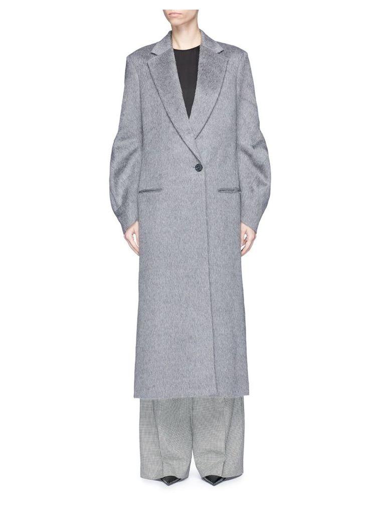Twist sleeve alpaca-virgin wool melton long coat