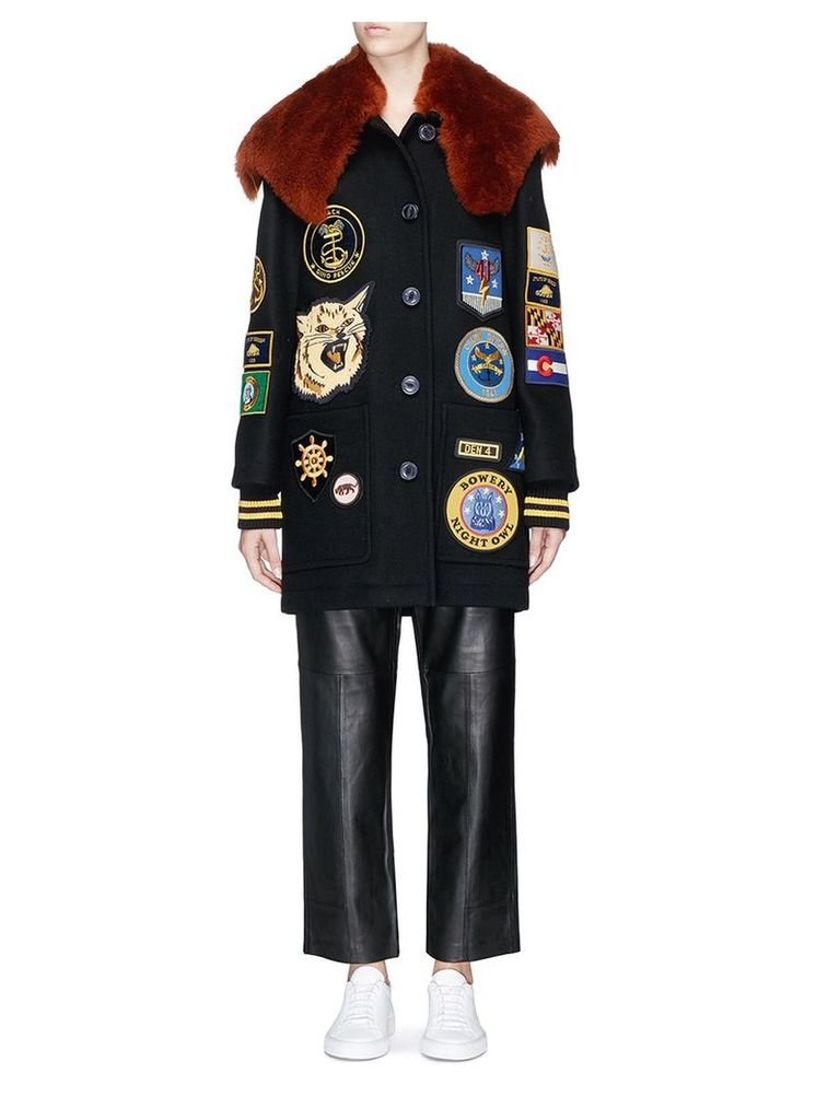Detachable shearling collar military patch melton coat