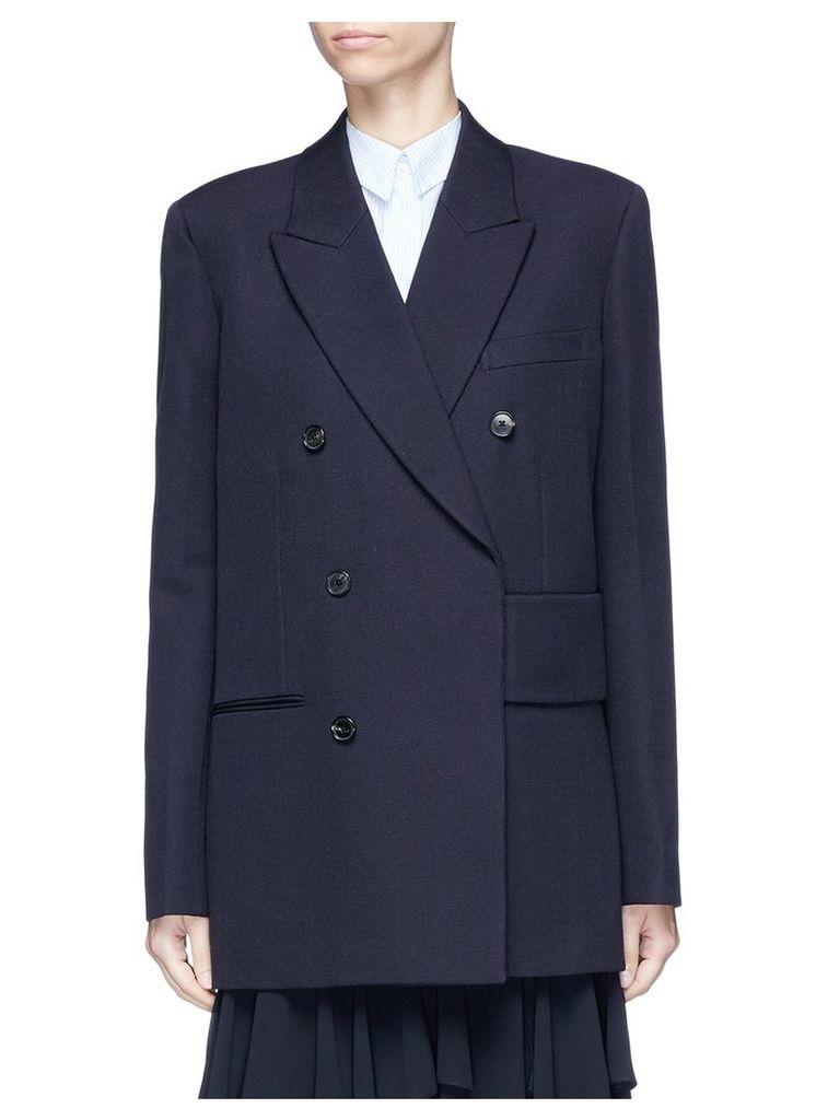 Belted wool hopsack wrap blazer