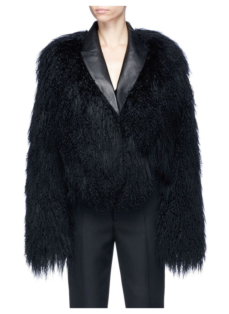 Goat shearling bomber jacket