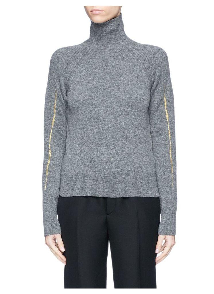 Metallic embroidered turtleneck knit sweater