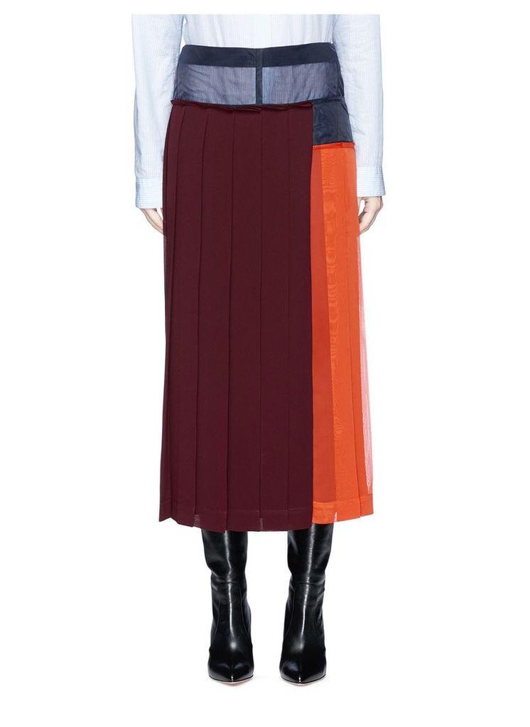 Colourblock pleated georgette midi skirt