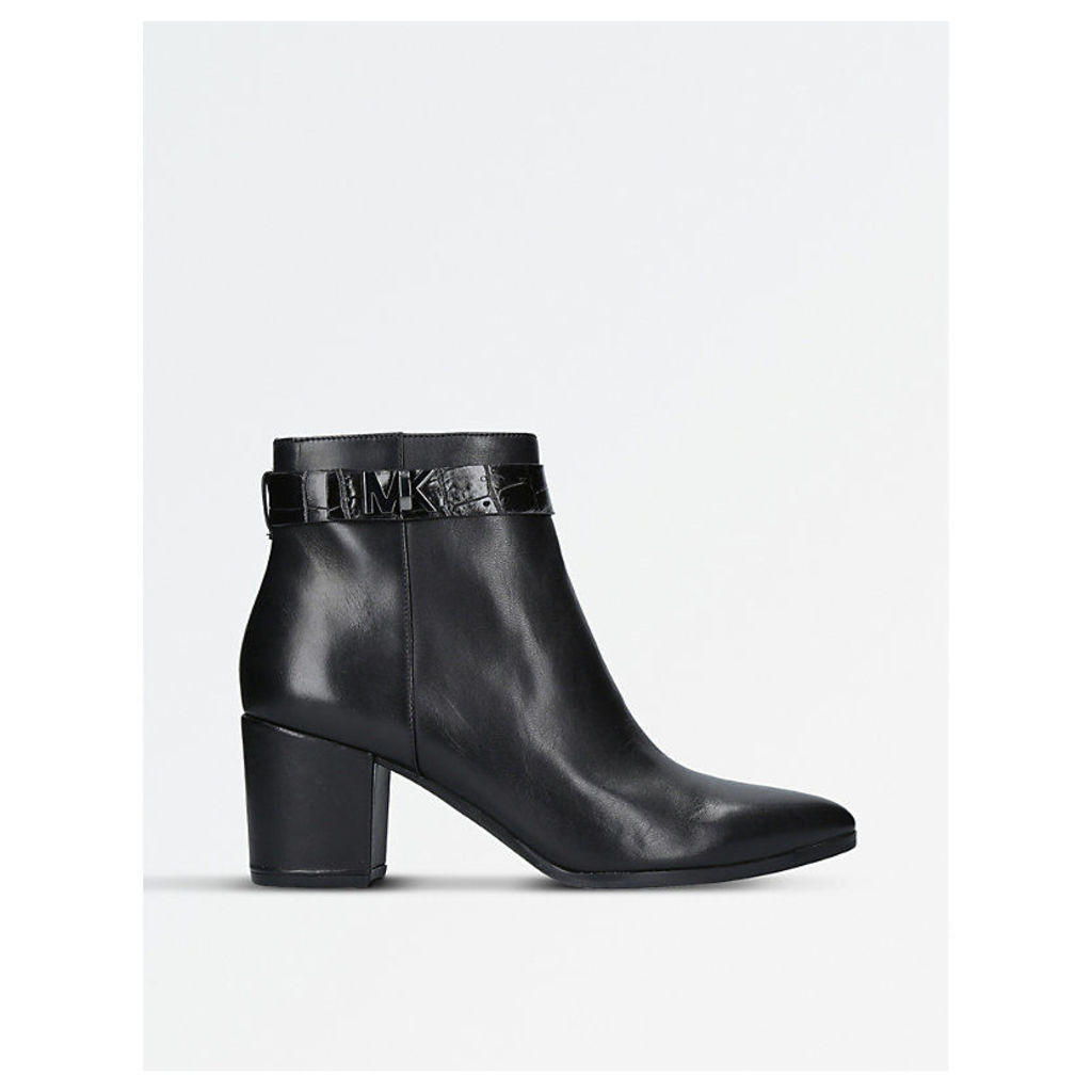 Julianna leather croc-embossed ankle boots