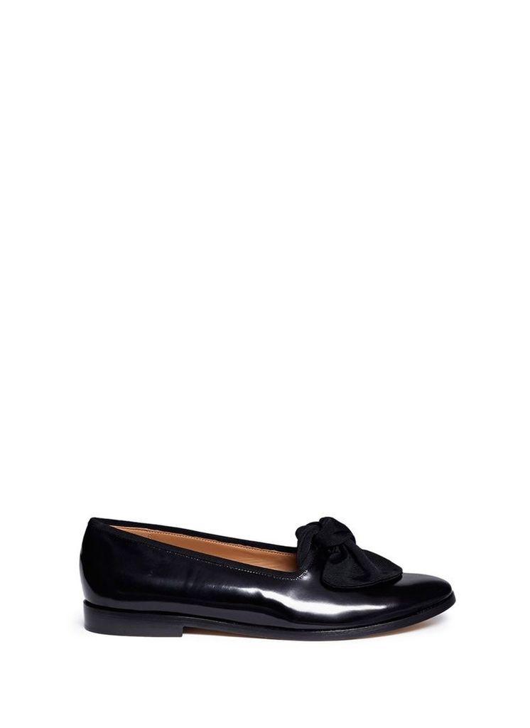 Grosgrain bow leather flats