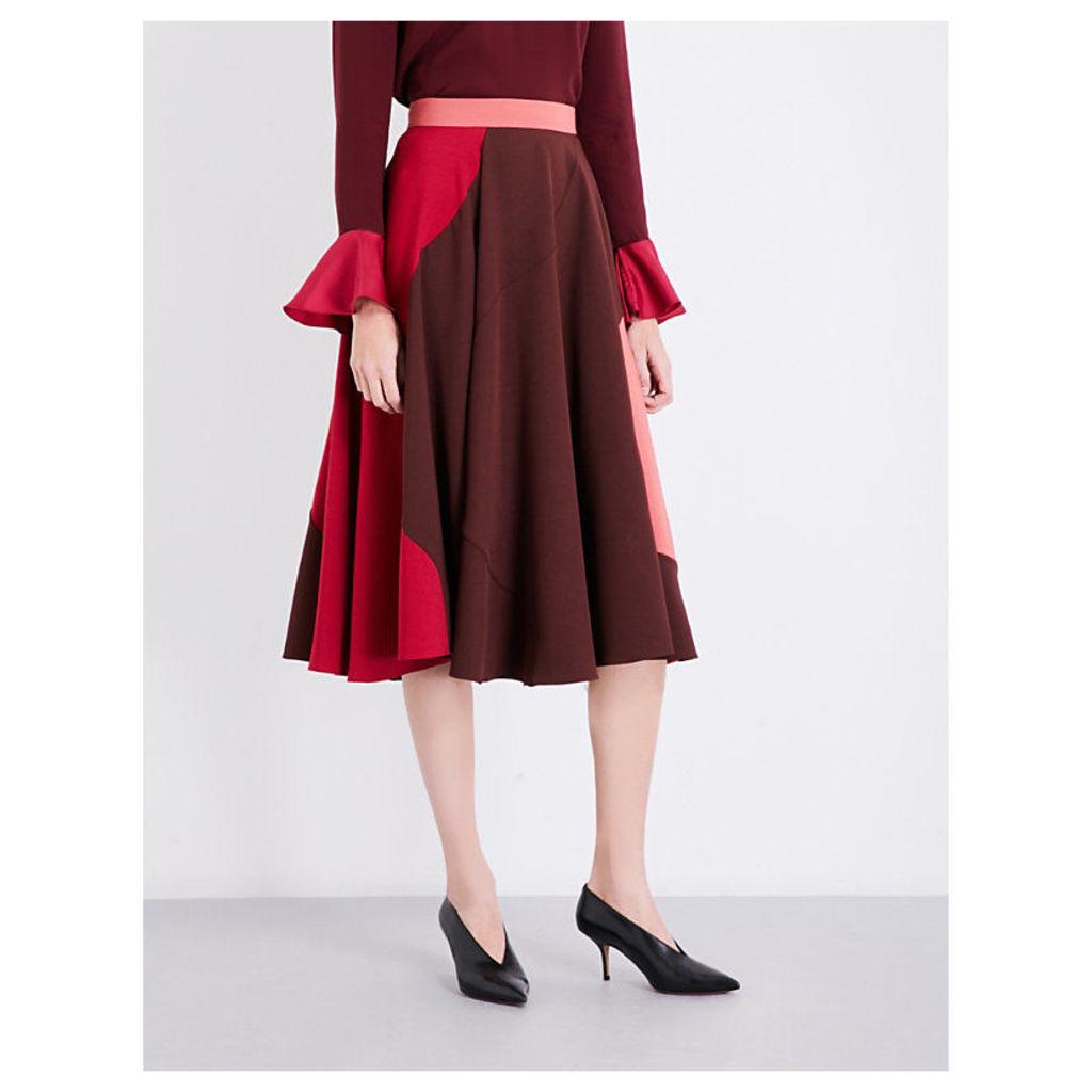 Milena high-rise crepe midi skirt