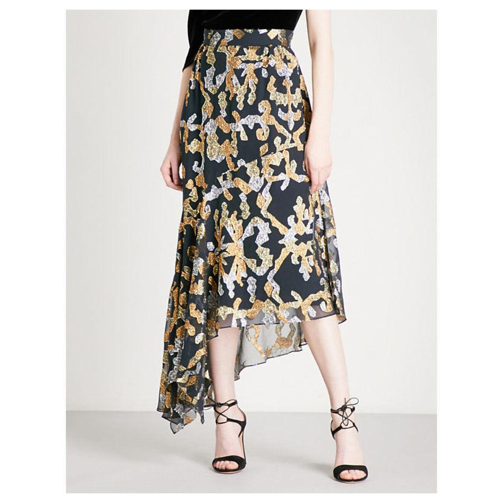Asymmetric fil-coupé midi skirt