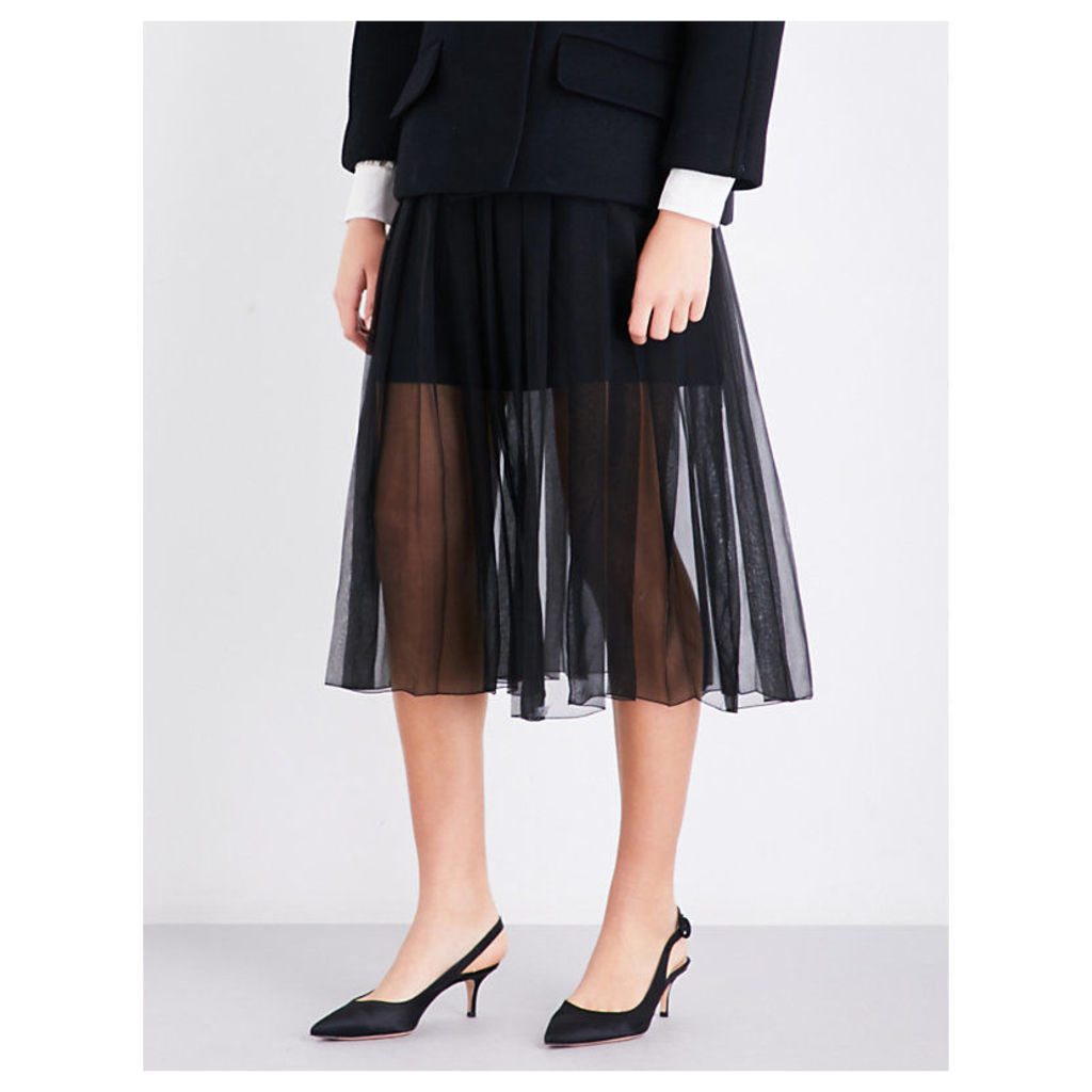Knife pleated high-rise silk-georgette midi skirt