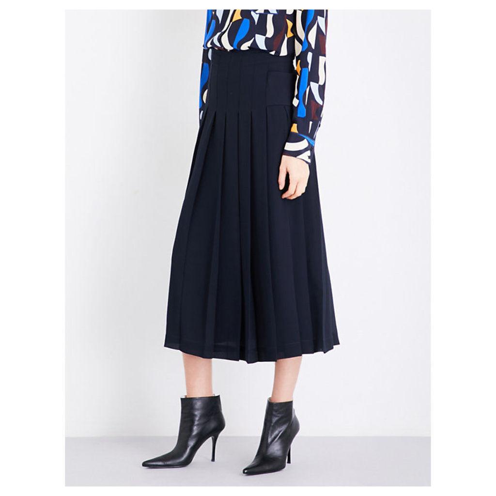 Layered pleated georgette midi skirt