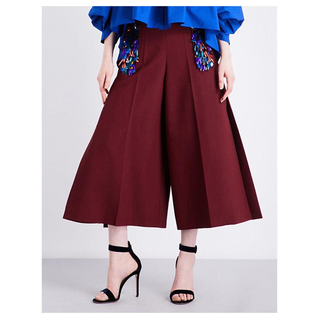 Embellished wide-leg wool-blend trousers