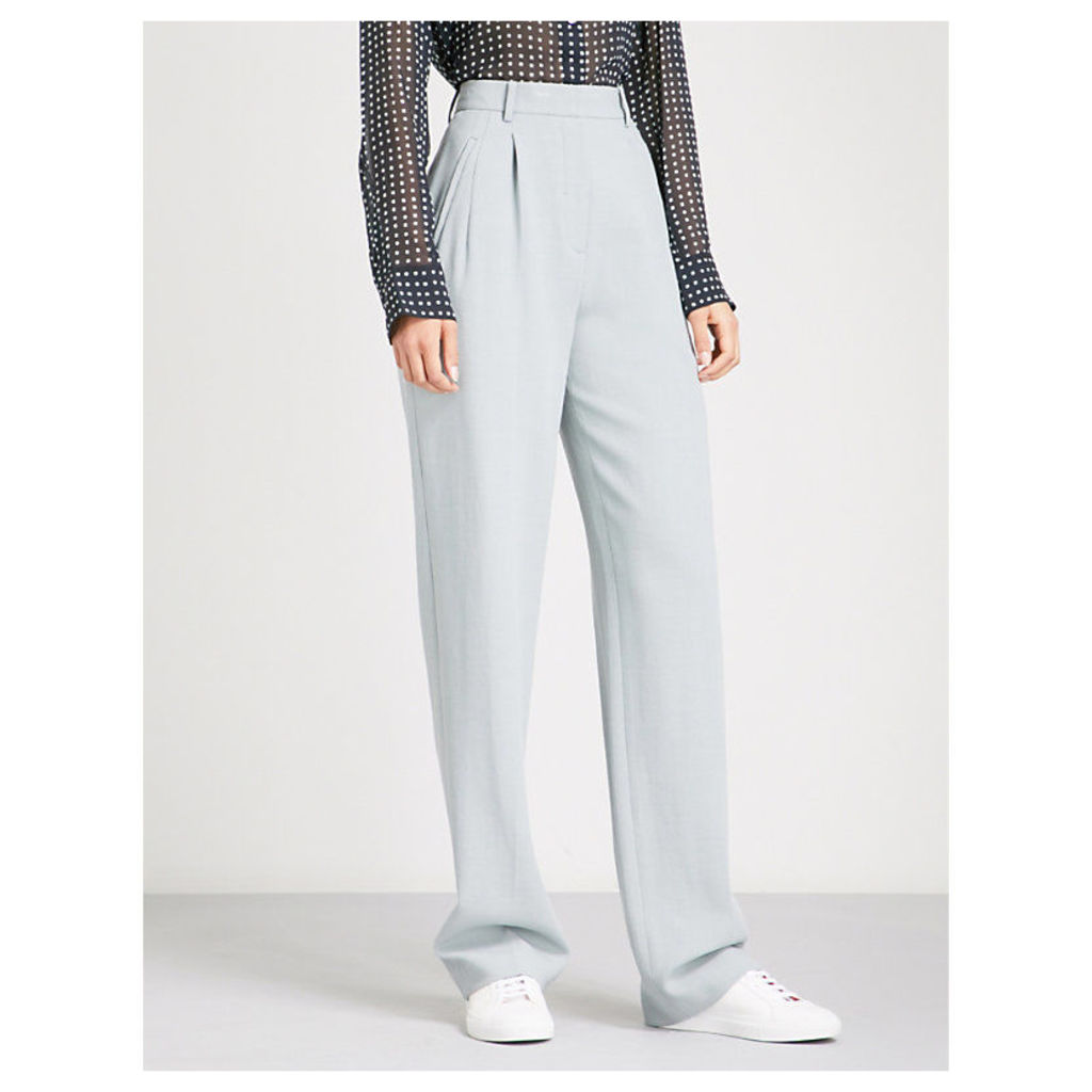 Wide high-rise crepe trousers