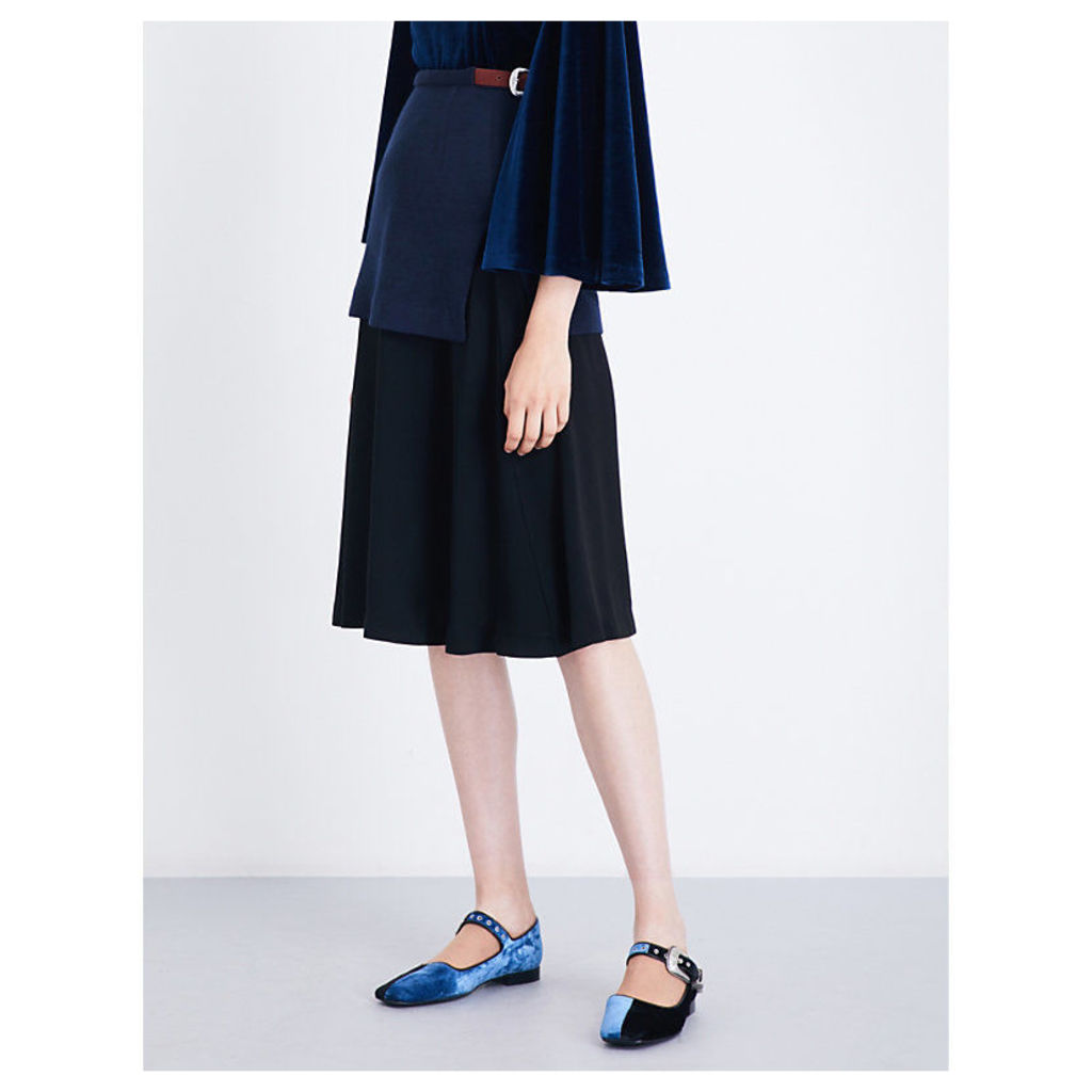 A-line wool-jersey and crepe skirt