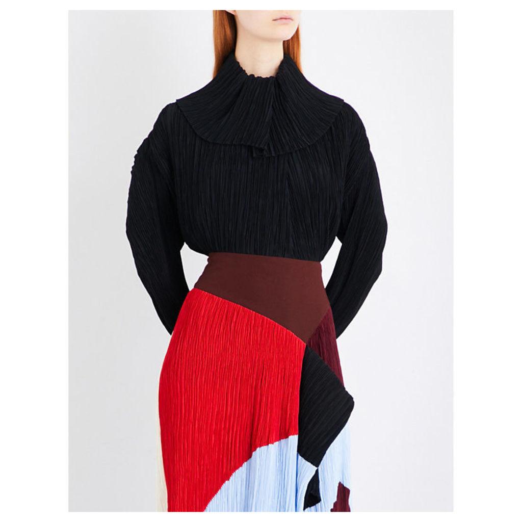 Garland chiffon and crepe blouse