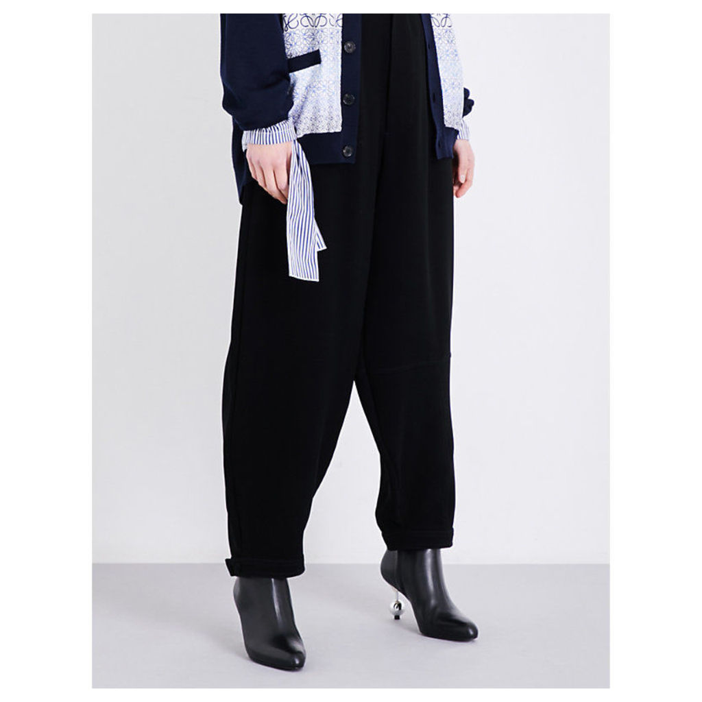 Wide pleated high-rise crepe trousers