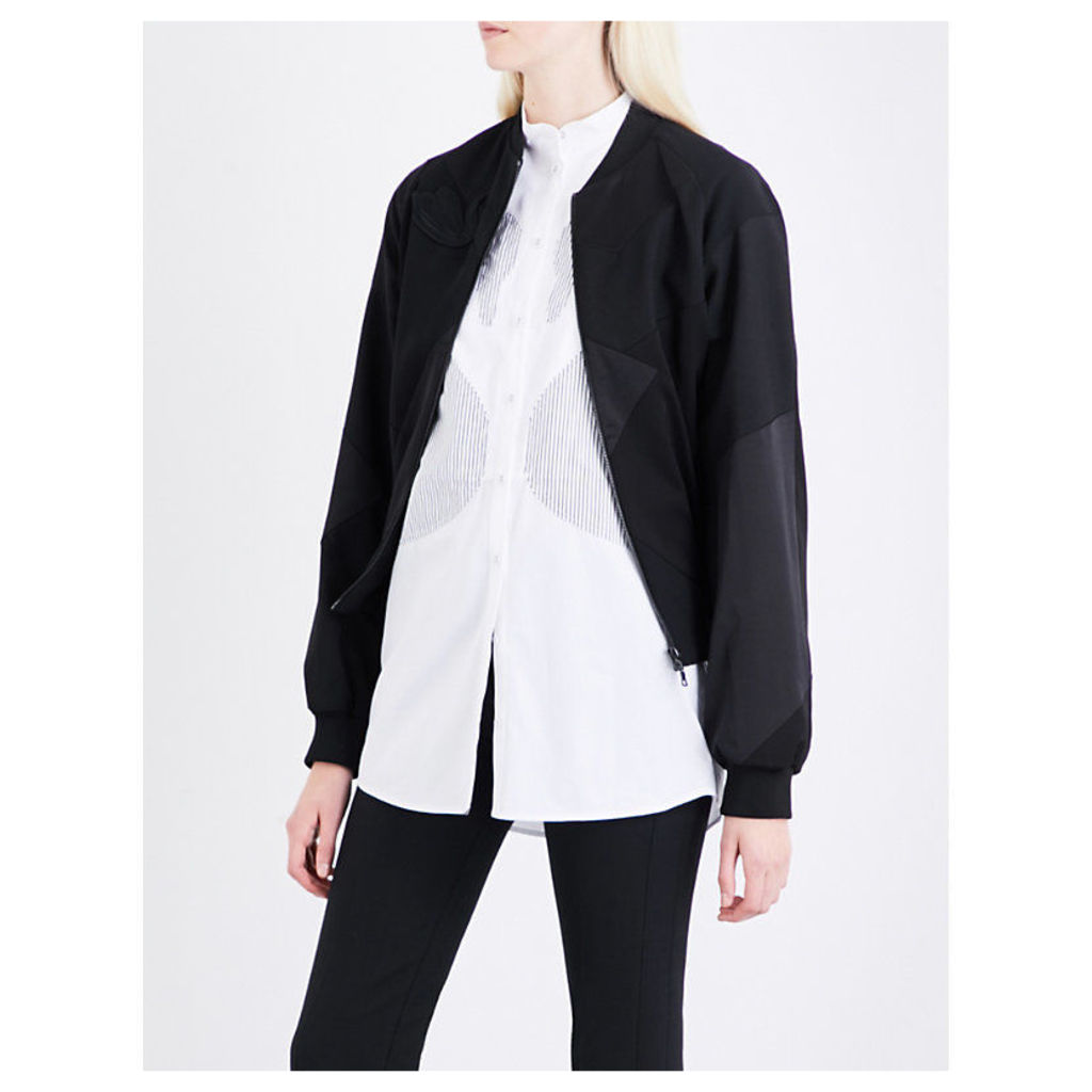 Swan-patch wool, silk and shell bomber jacket