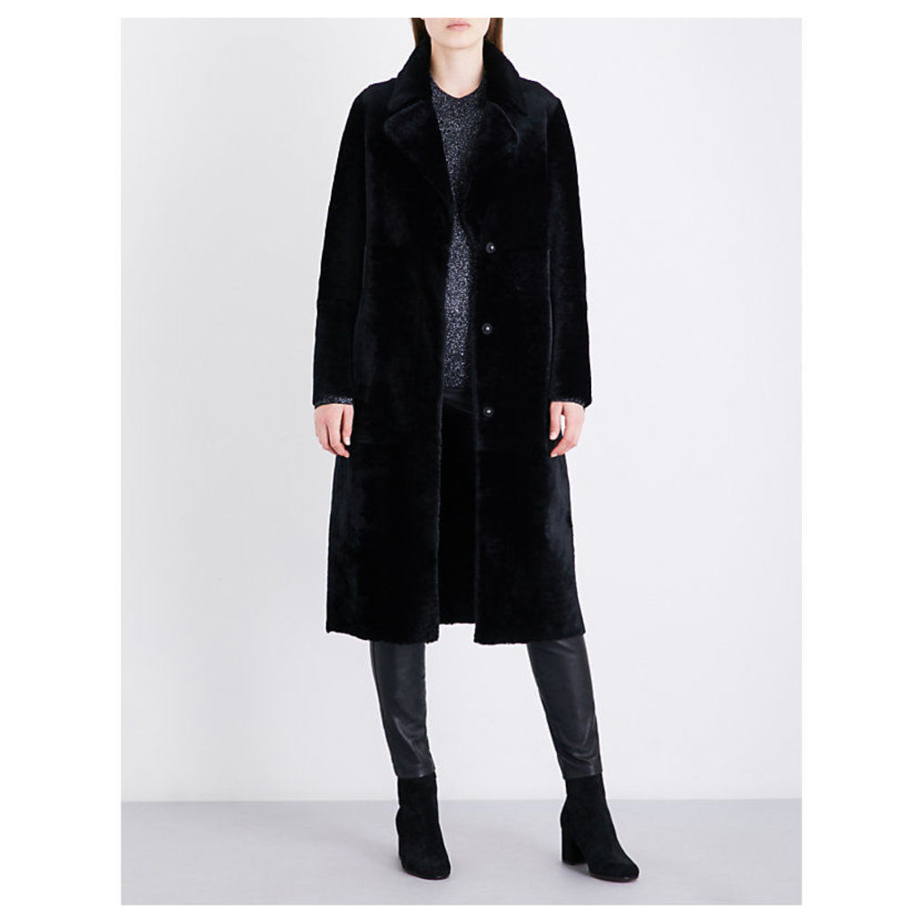 Drome Ladies Black Luxurious Single-Breasted Reversible Shearling And Leather Coat, Size: M