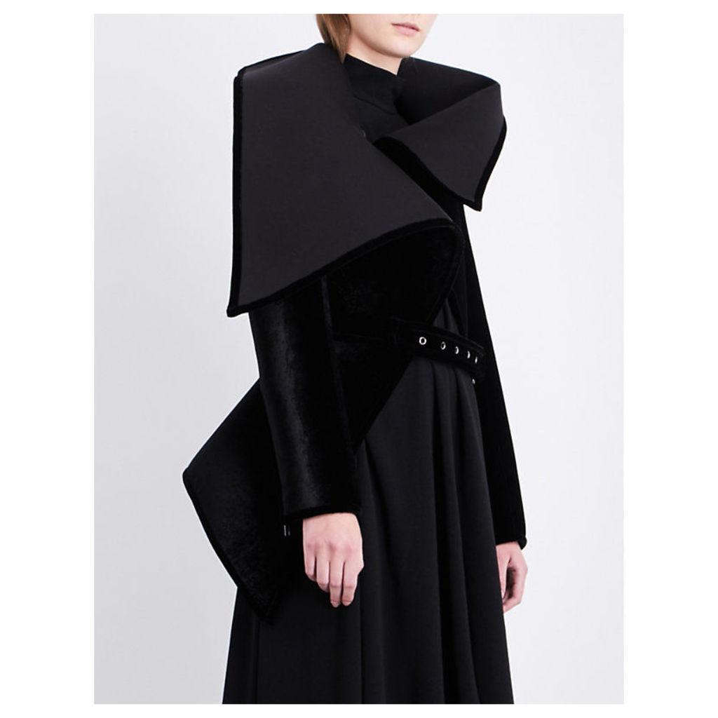 Asymmetric-collar velvet jacket